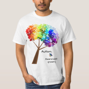 1b80e82bb Autism Awareness Rainbow Puzzle Tree T-Shirt