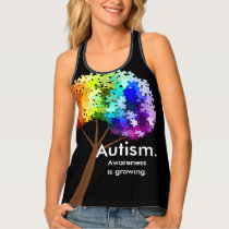 Autism Awareness Rainbow Puzzle Tree Tank Top