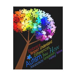 Autism Awareness Rainbow Puzzle Tree with Words Canvas Print