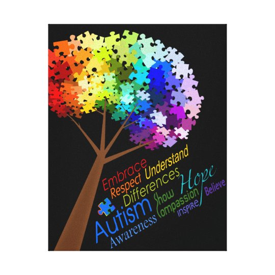 Autism Awareness Art Posters Framed Artwork: Autism Awareness Rainbow Puzzle Tree With Words Canvas