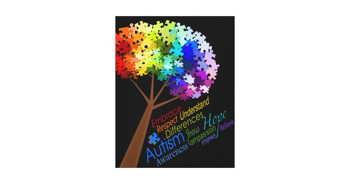 Autism Awareness Rainbow Puzzle Tree With Words Canvas