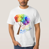 Autism Awareness Rainbow Puzzle Tree with Words T-Shirt