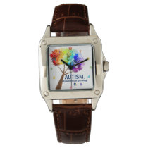 Autism Awareness Rainbow Puzzle Tree Wrist Watch