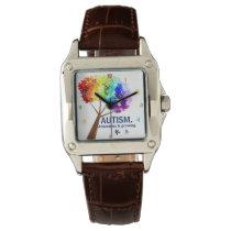 Autism Awareness Rainbow Puzzle Tree Wristwatch