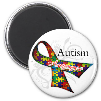 Autism Awareness Ribbon 2 Inch Round Magnet