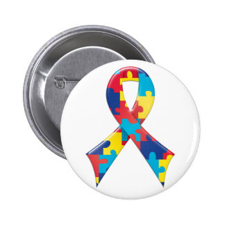 Autism Awareness Ribbon A4 2 Inch Round Button
