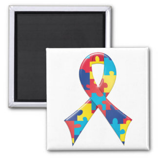 Autism Awareness Ribbon A4 2 Inch Square Magnet