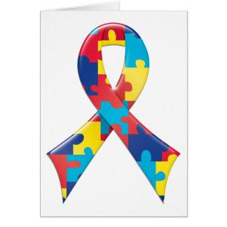 Autism Awareness Ribbon A4 Card