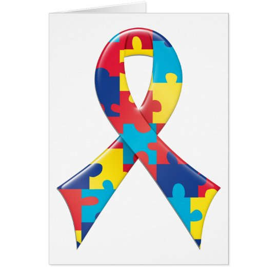 Autism Awareness Ribbon A4 Card