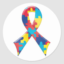Autism Awareness Ribbon A4 Classic Round Sticker