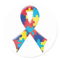 Autism Awareness Ribbon A4 Classic Round Sticker