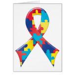 Autism Awareness Ribbon A4 Greeting Card