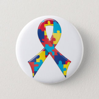 Autism Awareness Ribbon A4 Pinback Button