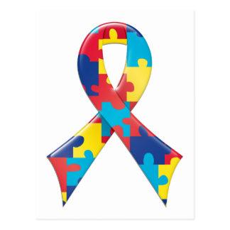 Autism Awareness Ribbon A4 Postcard