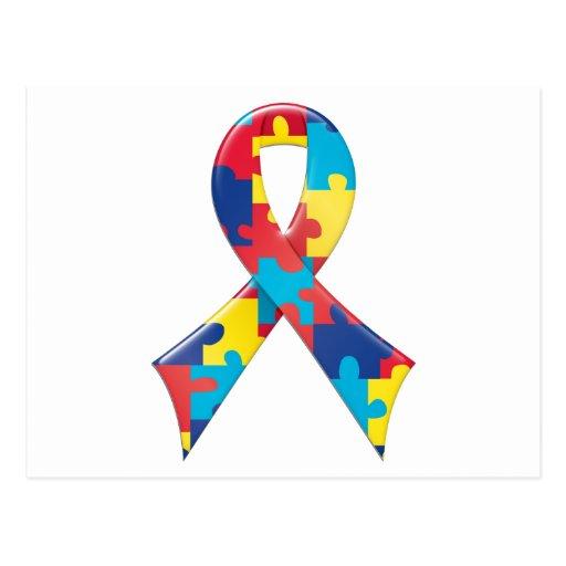 Autism Awareness Ribbon A4 Postcards