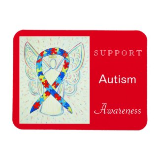 Autism Awareness Ribbon Angel Magnet