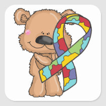 Autism Awareness Ribbon Bear Stickers