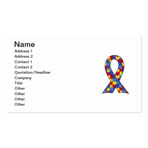 Puzzle piece business card templates bizcardstudio autism awareness ribbon business card template pronofoot35fo Choice Image