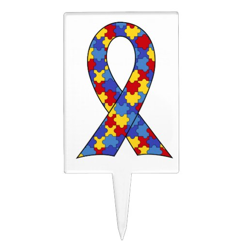 Autism Awareness  Ribbon Cake Picks