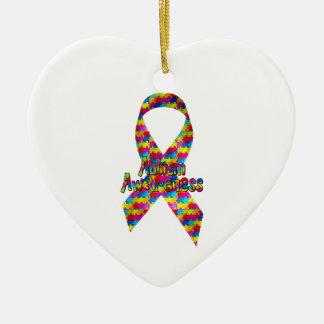Autism Awareness Ribbon Ceramic Ornament