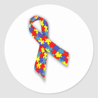 Autism_Awareness_Ribbon Classic Round Sticker