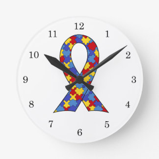Autism Awareness  Ribbon Round Wall Clocks