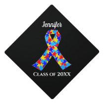 Autism Awareness Ribbon Custom Class Name Black Graduation Cap Topper