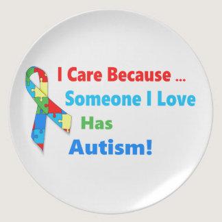 Autism awareness ribbon design dinner plate