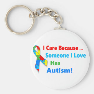 Autism awareness ribbon design keychain