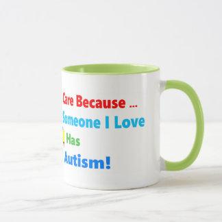 Autism awareness ribbon design mug