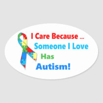 Autism awareness ribbon design oval sticker