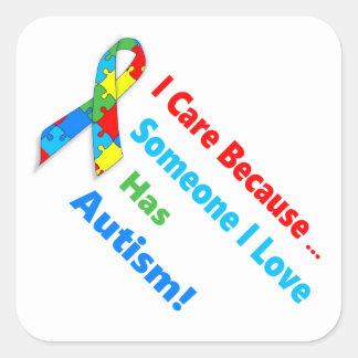Autism awareness ribbon design square sticker