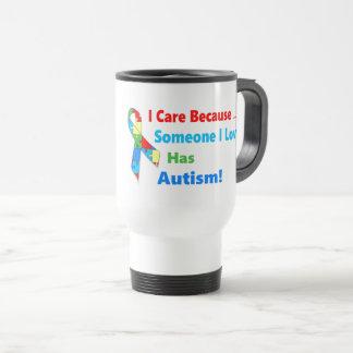 Autism awareness ribbon design travel mug