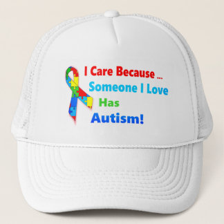 Autism awareness ribbon design trucker hat