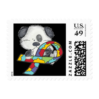 Autism Awareness Ribbon Dog Postage Stamps