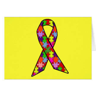 Autism Awareness Ribbon in Jigsaw Pattern Cards