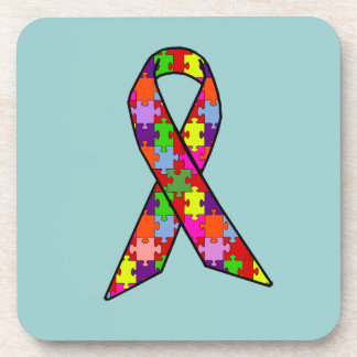Autism Awareness Ribbon in Jigsaw Pattern Coaster