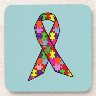 Autism Awareness Ribbon in Jigsaw Pattern Beverage Coasters