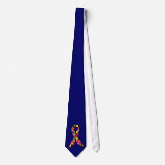 Autism Awareness Ribbon in Jigsaw Pattern Neck Tie