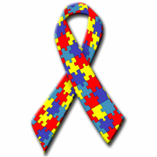 Autism Awareness Ribbon Key Chain Statuette