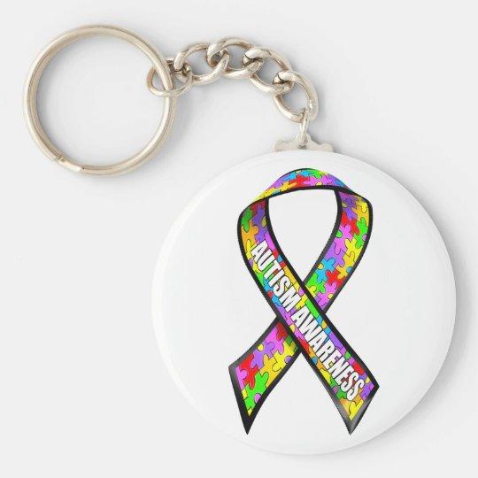Autism awareness ribbon keychain