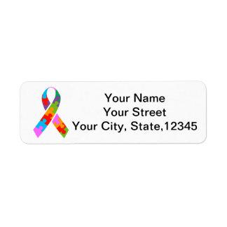 Autism Awareness Ribbon Return Address Label