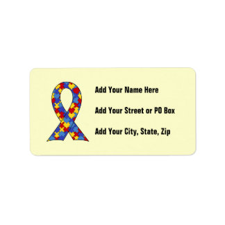 Autism Awareness  Ribbon Label