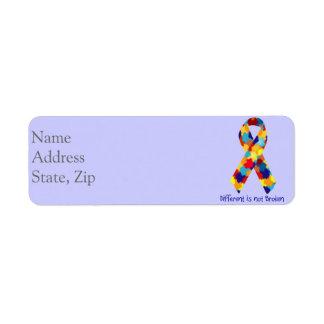 Autism Awareness Ribbon labels