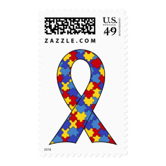Autism Awareness Ribbon Stamps