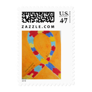 Autism Awareness Ribbon Postal Postage