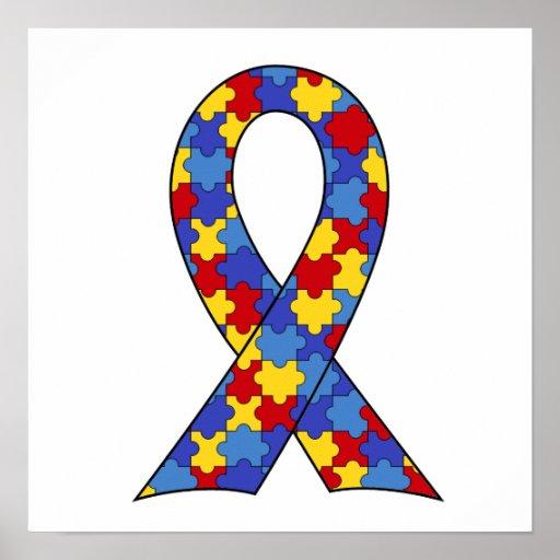Autism Awareness Art Posters Framed Artwork: Autism Awareness Ribbon Poster