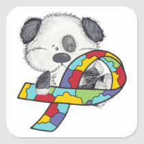 Autism Awareness Ribbon Pup Square Sticker