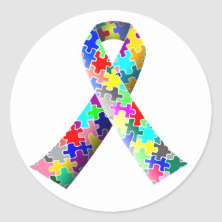 Autism Awareness Ribbon Round Stickers Sheets