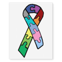 Autism Awareness Ribbon Temporary Tattoo